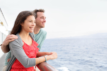 Romantic happy couple on cruise ship traveling