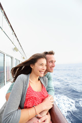 Romantic couple on cruise ship enjoying travel