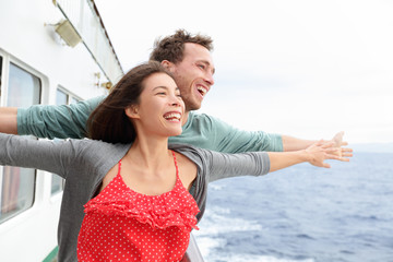 Romantic couple fun in funny pose on cruise ship