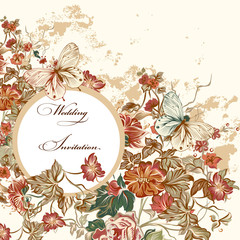 Floral invitation card with flowers