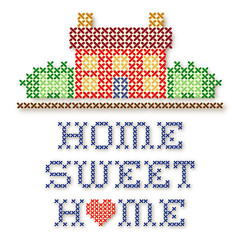 Embroidery, Home Sweet Home Cross Stitch, Red Heart
