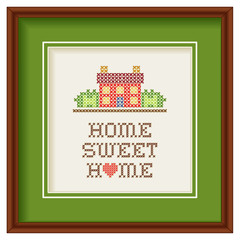 Embroidery, Home Sweet Home Cross Stitch, heart, frame