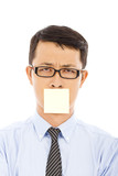 businessman feel helpless expression and sticker poster