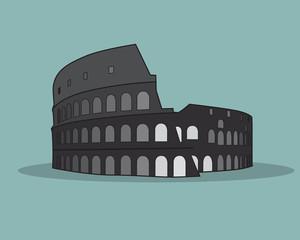 Colosseum in Rome Black Silhouette Vector Illustration.
