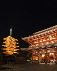 Old Japanese temple at night, Asakusa, Tokyo