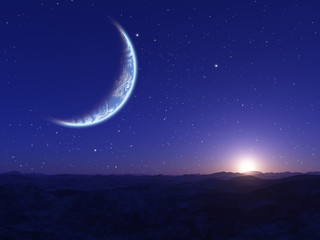 Alien Planet. Landscape with stars and planet.