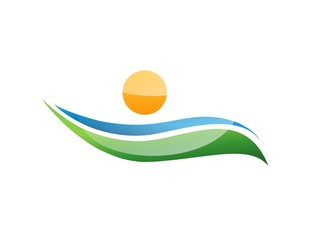 logo nature health people icon land symbol island sun