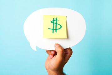 Earning cash concept on blue background