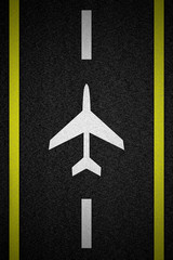 sign plane on road