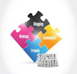social media color puzzle illustration design