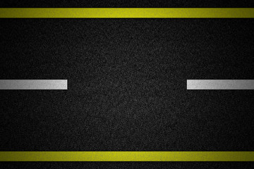 Road with two yellow and dashed white stripe