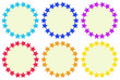 Colourful round empty templates made of stars