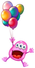 A happy monster with balloons