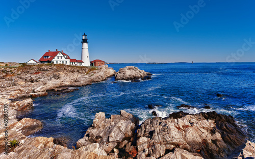 Fotobehang Vuurtoren / Mill Portland Head Lighthouse in Cape Elizabeth, Maine