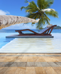 piscine pour détente en duo sous les cocotiers