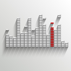 equalizer on white with red strip - vector illustration