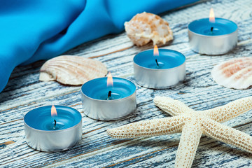 decorative candles seashells