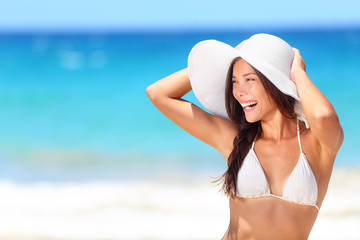 Beach woman happy smiling laughing lifestyle