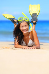 Travel woman on beach vacation with snorkel