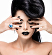Glamour woman's nails , lips and eyes painted color black.