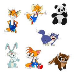 fox, rabbit, panda, raccoon, cat, set