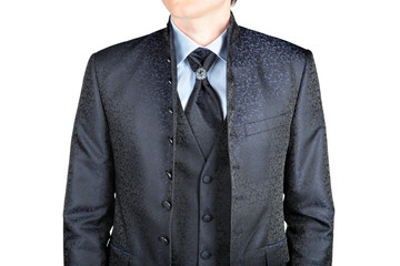 For man gray blazer with a pattern, wedding or prom