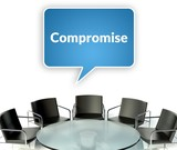 Compromise business concept, workplace for negotiations poster