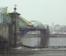 Russia. Moscow. Bogdan Khmelnitsky bridge during a snowfall.