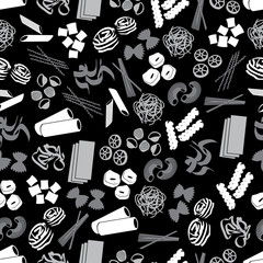 types of pasta food black and gray pattern eps10