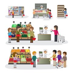 People In Supermarket - Isolated On White Background
