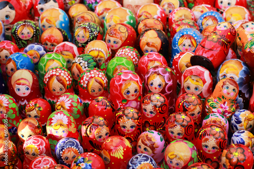 Russia, Moscow gift shop with colored dolls - 65060547