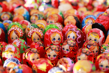 Russia, Moscow gift shop with colored dolls