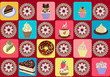 seamless pattern of tea cup and cupcakes.