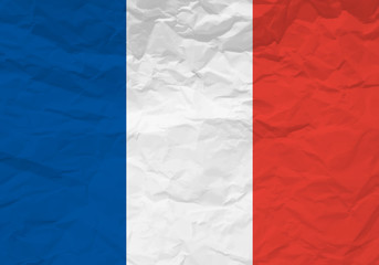 France flag crumpled paper