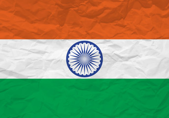India flag crumpled paper