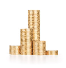 pile of gold coins on an isolated white background