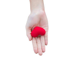 Red heart in humand hand