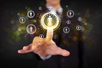 Modern businessman touching future technology social network but