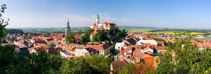 Panorama of historical town Mikulov - Czech Republic