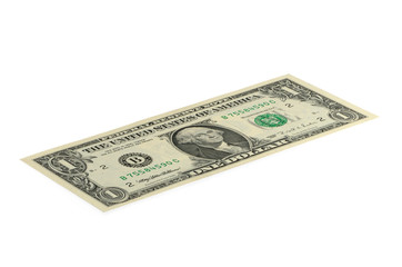 Banknote 1 US dollar isolated on a white background.