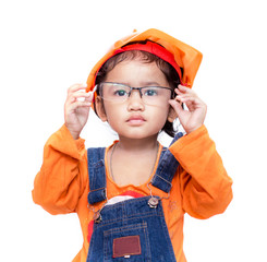 Asian Engineer baby girl take the glasses