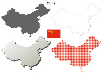 China blank outline map set