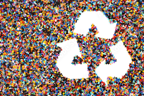 Leinwandbild Motiv Colorful Plastic Polymer Granules