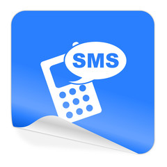 sms blue sticker icon