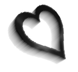 Black dimensional pixel image of heart