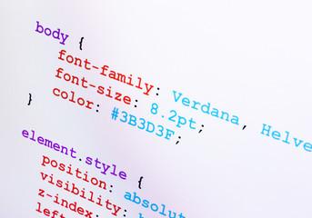 CSS source code closeup diagonal view