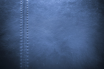 Sewing blue leather texture background