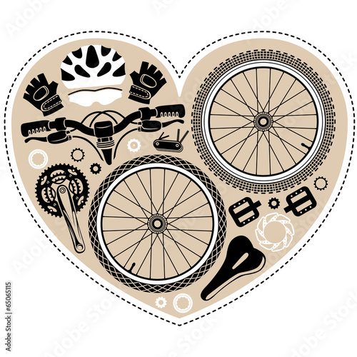 vintage bicycle parts in shape of heart