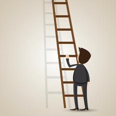 cartoon businessman with ladder