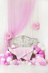birthday party room background with gift boxes. Kids presents